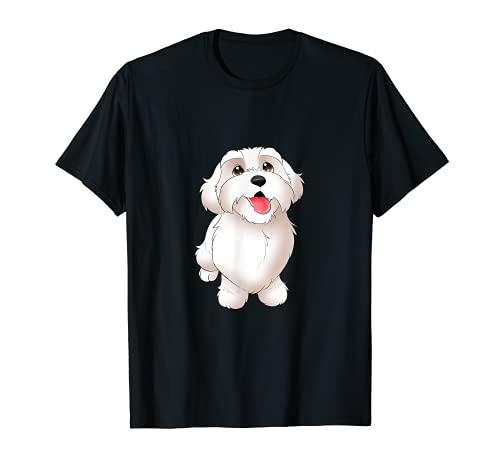 Malteser-Cartoon-Hund, niedliches Welpen-Motiv. T-Shirt