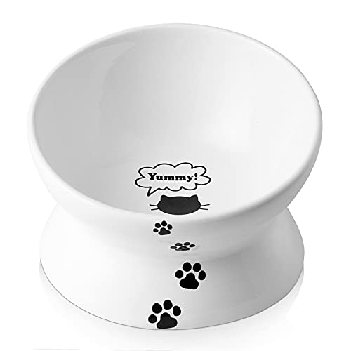 Y YHY Cat Bowl Anti Vomiting,Raised Cat Food Bowls, Tilted Elevated Cat Bowl, Ceramic Pet Food Bowl for Flat Faced Cats, Small Dogs,Protect Pet's Spine,Dishwasher Safe
