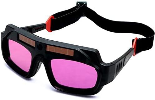 Gafas De Soldadura De Oscurecimiento Automático De Energía Solar Automático Fotográfica Fotoeléctrica Arco De Soldadura De Arco Mascarilla Casco Gafas Soldador Gafas(Color:A)