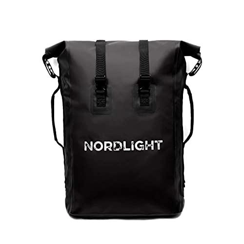 Nordlight Drybag 35 L Roll Top - (Schwarz) mit gepolstertem Tragegurt, Dry Bag Rucksack für Wassersport, Fahrrad Rucksack, Kurierrucksack, Trekking, Angeln
