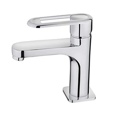 Strohm Teka - Grifo de lavabo NEXOS. Monomando de lavabo con diseño estilizado y Super ECO A++, plata