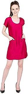 Women's Poly Satin A-Line Midi Dress