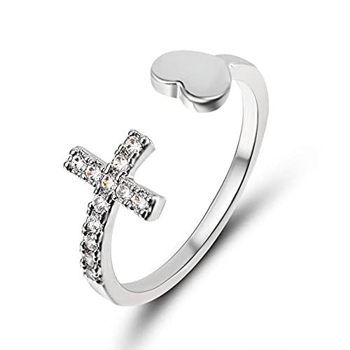 1 pieza de ranura de aleación de plata, forma de corazón cruz irregular, anillo de apertura ajustable (color principal de la piedra: RI17Y122M0)