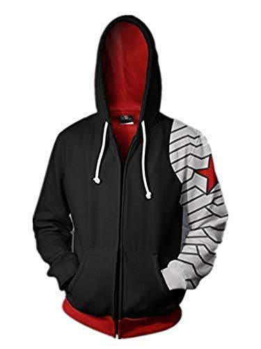 Mempire Herren Hoodies Kapuzenpullover mit Print Winter Soldier Cosplay Sweatshirts mit Reißverschluss