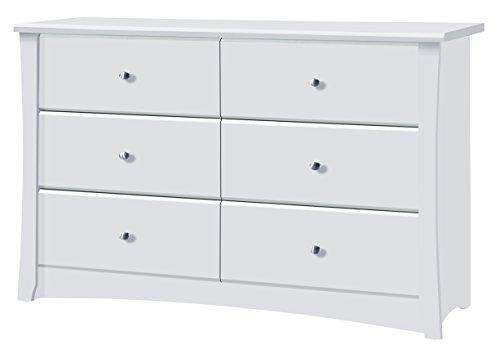 Storkcraft Crescent 6 Drawer Dresser, White, Kids Bedroom Dresser with 6 Drawers, Wood and Composite Construction, Ideal for Nursery Toddlers Room Kids Room