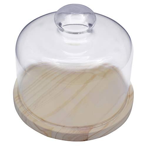 Quesera Redonda con Tapa de Cristal – Caja Queso Base de Madera – Ideal para Conservar Frescos Tus Quesos - Diámetro Ø 17cm