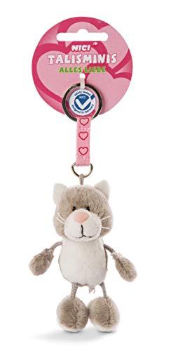 NICI 47553 7cm Talisminis – Katze Kuscheltieranhänger mit Schlüsselring für Schlüsselband, Schlüsselbund, Schlüsselhalter & Schlüsselkette – Taschenanhänger mit Botschaft, GRAU/WEIß