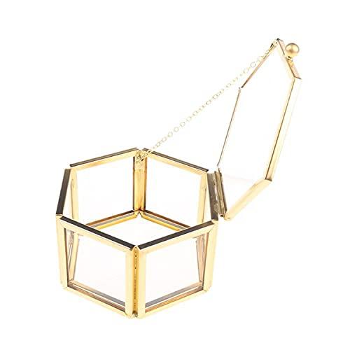 BAWAQAF Caja de almacenamiento de anillo Caja de joyería de cristal transparente geométrica joyería organiza titular mesa plantas suculentas contenedor Hom