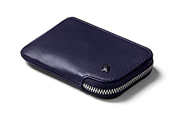 Bellroy Card Pocket  Small Leather Zipper Card Holder Wallet Holds 4-15 Cards Coin Pouch Folded Note Storage  - Navy