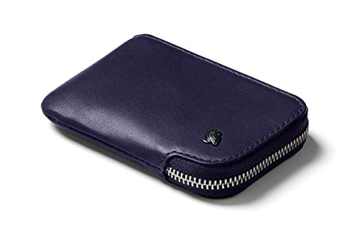 Bellroy Leather Card Pocket Wallet, Portafoglio sottile con cerniera (Max. 15 carte, banconote e tasca per monete) - Navy