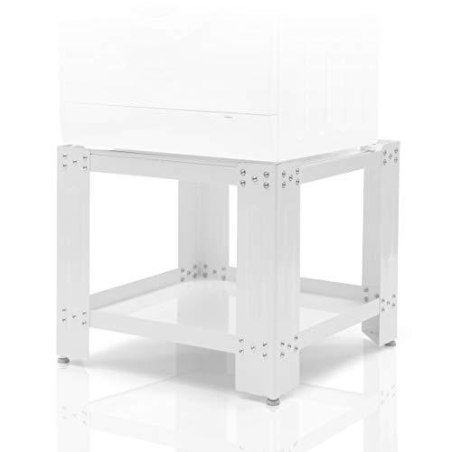 Xavax Waschmaschinen Untergestell 60 x 60cm (50cm Erhöhung, stabiler Unterbau-Sockel mit Bodenfach, höhenverstellbare Füße, Waschmaschinen-/Trockner-Podest) weiß