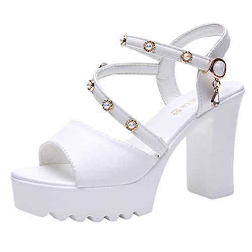 Sandalias Cruzadas para Mujer Plataforma De Moda Boca De Pez Cuadrado Tacones Altos Elegante Peep Toe Color Sólido Hebilla Zapatos con Correa En El Tobillo Negro Blanco