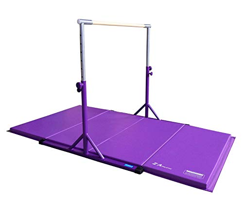Z ATHLETIC Expandable Kip Bar Adjustable Height for Gymnastics, Training & 4ft x 8ft x 2in Mat (Purple), ZATH-KIP-4x8x2-Prpl