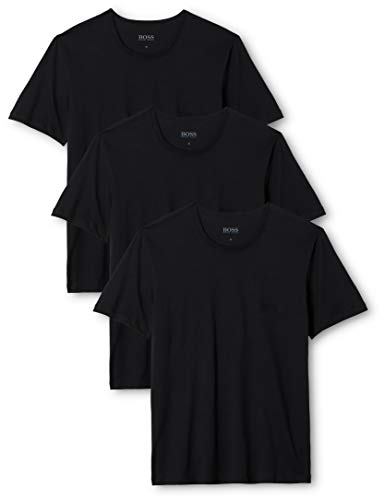 BOSS T-Shirt RN 3p Co Camiseta para Hombre, Negro (Black), L