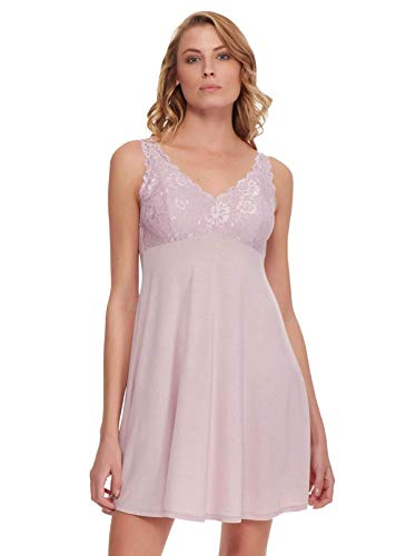Felina | Micro Modal Chemise | Lace | Adjustable | Loungewear | Sleepwear (Violet Ice, Small)