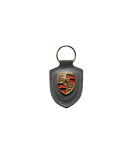 Porsche Schlüsselanhänger Wappen   Metalllogo Auf Lederplatte   Hier Plus Extra Schlüsselring Mit Schraubverschluss Original Sportwagen Design   Made In Germany (Grau)