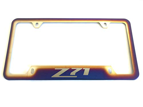 Tonet Stainless Steel Neo Polished Blue Burnt Colorful Car License Plate Tag Frame Cover Holder W/Screws Caps for Chevy Z71 (1)