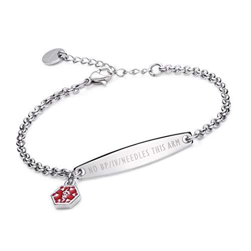 LinnaLove-Pre-Engraved Simple Rolo Chain Medical Alert Bracelet for Women-NO BP/IV/Needles This ARM
