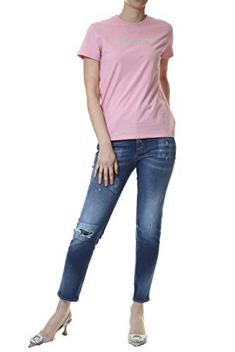 KARL LAGERFELD Rhinestone Logo T-Shirt Camiseta, Rosa, L para Mujer