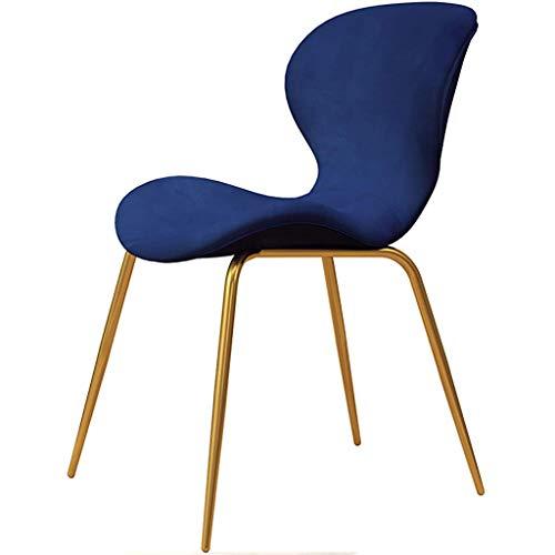 Jokeagliey Fauteuil, Nordic Home Back Dining Chair, Chaise de Bureau en Fer léger, chaises de Bureau pour Chambres à Coucher, pour Restaurant/Bureau/Comptoir/Famille,Blue