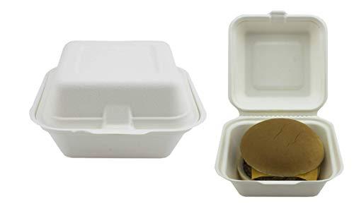Contenitori per hamburger in bagassa, da asporto, 15,2 cm, set di 50 contenitori super rigidi, biodegradabili, compostabili e riciclabili, in polpa di canna da zucchero naturale