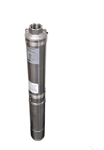 Hallmark Industries MA0343X-4 Deep Well Submersible Pump, 1/2 hp, 110V, 60 Hz, 25 GPM, 150' Head, Stainless Steel, 4""