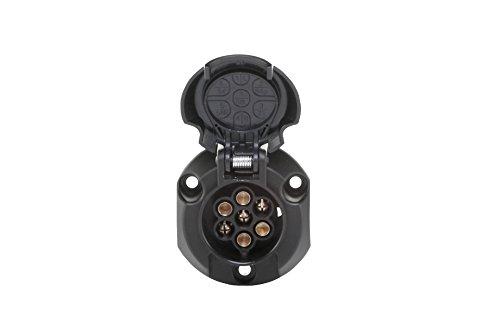 HELLA 8JB 001 943-003 Steckdose - 12V - 7-polig - Zinnbronze - Kunststoffgehäuse - schwarz - DIN/ISO: 1724 - Karton
