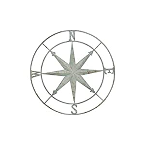 Creative Co-op Decorative Round Metal Compass Wall...