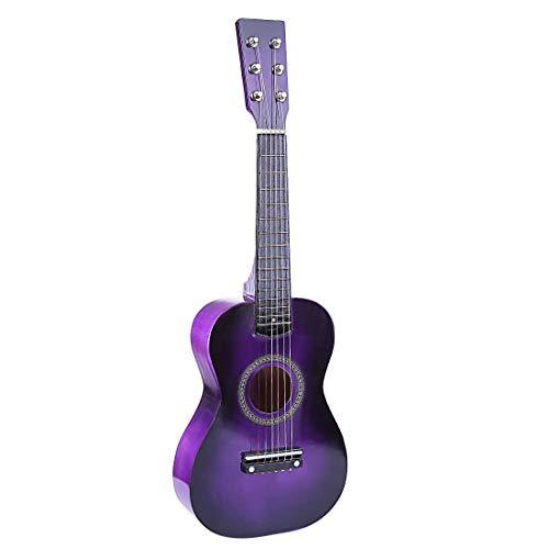 DXX Guitare Enfant Bois 6 Cordes Instruments de Musiqu Acoustique a Cordes 23 Pouce pour Guitare Débutant-Violet