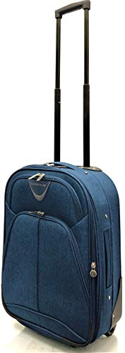Ryanair, EasyJet, Jet2, Wizzair, BA and Many More Airlines Cabin Approved Super Lightweight Durable Expandable Carry-ons Hand Luggage Trolley 2 Wheeled Luggage Bag (18' Ryanair, Navy)
