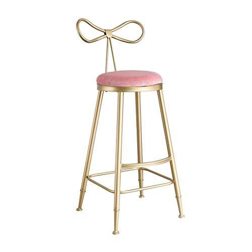 JHSLXD Bar Sedia Creativa Home Bar Sgabello d'oro Sgabello Alto Papillon Poltrona Dressing Table Trucco Sedia Decorazione Mobili,Rosa,70CM