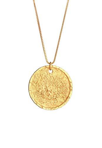 Kuzzoi Herren Silber-Halskette mit Münz Anhänger Rund (25 mm), Halskette für den Mann in 925 Sterling Silber vergoldet, Goldene Kette mit antiken Coin, Herrenkette mit Anhänger handgearbeitet