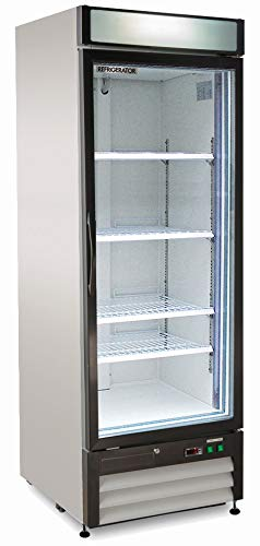 Chef's Exclusive CE321 Commercial 1 Hinged Swing Single Glass Door Refrigerator Merchandiser Cooler Display Showcase LED 23 Cubic Feet 4 Adjustable Shelves Digital Controller Lock, 27 Inch Wide, White