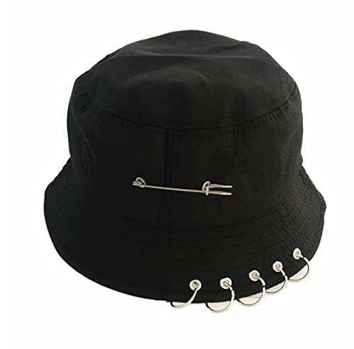 IBIEPAOTIAN Sombrero De Pescador Anillo De Aguja De Hierro Negro Puro Personalidad Casual Sombrero De Hip-Hop Hombres Y Mujeres Sombrero De Pescador De Algodón Unisex