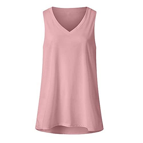 Camiseta casual con cuello en V para mujer