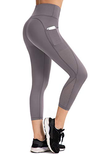 UURUN High Waisted Yoga Pants Capri Workout Leggings for Women with Pockets Tummy Control Non-See-Through Mesh Running Compression Capris for Exercise Fitness Gym Athletic Grey-S