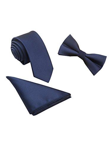 WANYING Herren Classic 6 * 12cm Fliege & 6cm Schmale Krawatte & 22 * 22 cm Einstecktuch 3 in 1 Sets - Einfarbig Dunkelblau