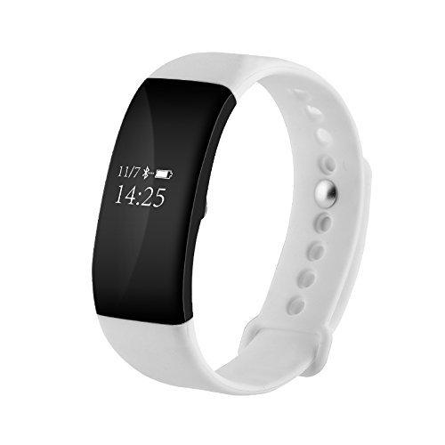 JUNEO Armband Sport Armband Fitness Tracker Professionelle Wasserdicht 50Meters Touch Screen Herzfrequenzmesser Sport Smartwatch Intelligente Armbanduhr Monitor-Schlaf OLED für Andriod IOS V66, weiß