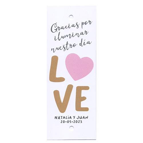 Tarjetas porta bengalas para bodas LOVE con corazón. Bengala NO inclu