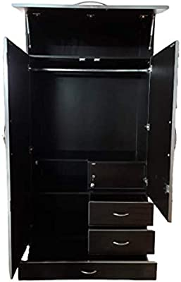 Furniture Galiara 18 mm Wood base particle Board 3 Door Wardrobe Drawer and Mirror (702, Brown)