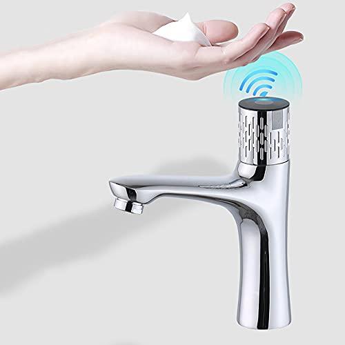 VBARV Grifo de Sensor automático, Grifo de Lavabo sin Contacto, Manos Libres de latón Genuino, Carga USB, diseño de Control Dual, inducción + Manual, para baño, hogar y Comercial
