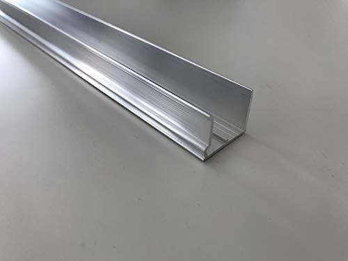 Alu-Abschlußprofil für Stegplatten aus XT PC PMMA Acrylglas Aluminium U-Profile Alu-U-Abschlussprofil Stärke 16 mm Länge 1200 mm mit Universal-Tropfkante