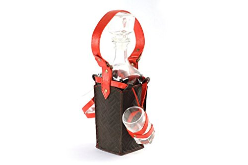 luxusolymp Exklusive Decanter/Caraffa con Tappo in copertina in pelle–0,75ML–IN di alta qualità a mano–Made in Europe