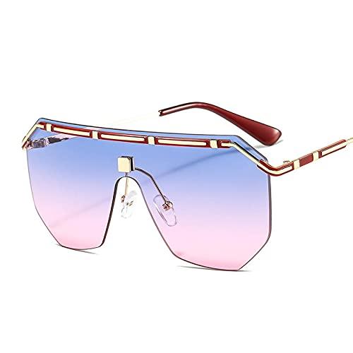 ShSnnwrl Único Gafas de Sol Sunglasses Gafas De Sol Cuadradas De Metal para Mujer, Gafas De Sol De Moda con Espejo Retro De Diseñ