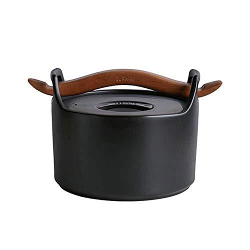 YIBOKANG StockPot antiaderente in ceramica con coperchio, casseruola in ceramica rotonda con manico in legno, vaso per stufato per famiglie resistente al calore, casseruola sana, pentola calda, vaso d