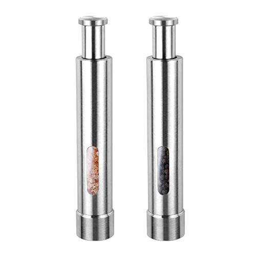 Cute Stainless Steel Pepper Mills with One Hand Stands Mini Thumb Push for Peppercorns, Sea Salt, Spices, Table Seasoning Grinders