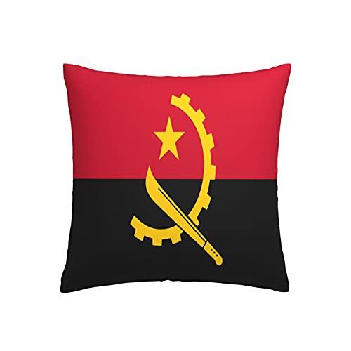 Kissenbezug mit Flagge von Angola, quadratisch, dekorativer Kissenbezug für Sofa, Couch, Zuhause, Schlafzimmer, drinnen & draußen, niedlicher Kissenbezug 45,7 x 45,7 cm