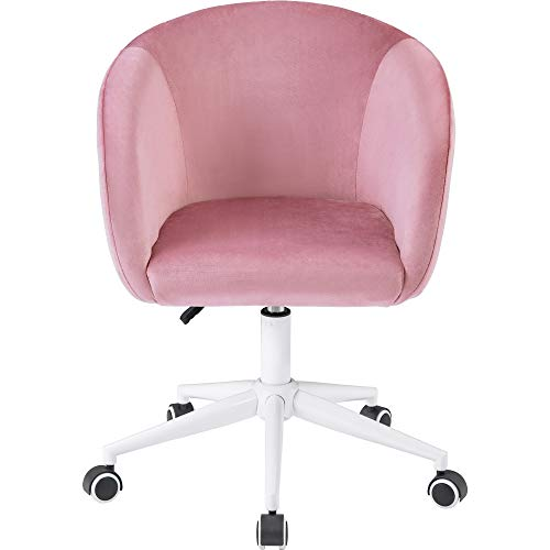 zcyg Silla de computadora de escritorio, silla de escritorio de terciopelo, silla de oficina con brazos, cojín de lujo para silla giratoria de oficina en el hogar (rosa)