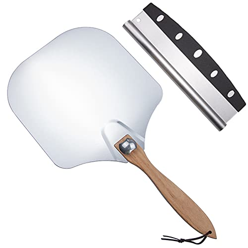 Elikliv 12 Inch Pizza Peel Metal with Foldable Wood Handle,14 Stainless Steel Pizza Rocker Cutter - Easy Storage Aluminum Pizza Peel 14 Inch Spatula for Making Homemade Pizza Baking Bread in Oven