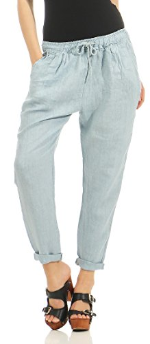 Malito Damen Hose aus Leinen | Stoffhose in Unifarben | Freizeithose für den Strand | Chino - Jogginghose 6816 (XL, hellblau)